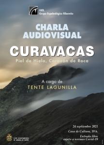 Cartel charla Tente Lagunilla con el Curavacas al fondo